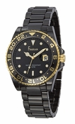 Freelook Watch Black Ceramic with gold accents black dial