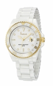 Freelook Watch White Ceramic with gold accents white dial