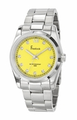 Freelook Watch yellow dial SS case & bracelet, cz markers