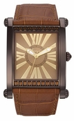 Freelook Watch Square Brown Case Brown leather band