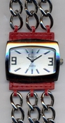 Freelook Watch Leather with chain bracelet-red