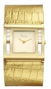 Freelook Watch Gold leather band, square gold face with loose crystals