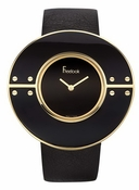 Freelook Watch Large Black/Gold round case-blank dial-leather band