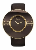 Freelook Watch Large Brown/Gold round case-blank dial-leather band