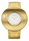 Freelook Watch Large Gold round case-blank dial-leather band