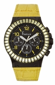Freelook Watch Yellow leather band/yellow swarovski bezel