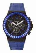 Freelook Watch Blue leather band/blue swarovski bezel