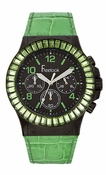 Freelook Watch Green leather band/green swarovski bezel