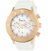 Freelook White Chrono Rose-Gold Bezel White Dial Watch