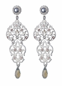 LK Jewelry Pierced Earring Silver Lace With Black Diamond Silver
