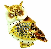 Jeweled & Enameled Owl Jewelry Box