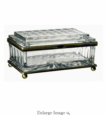 Box, Crystal, Rectangular, Brass Trim