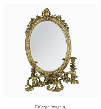 Mirror, Brass, Sculpted, Antique