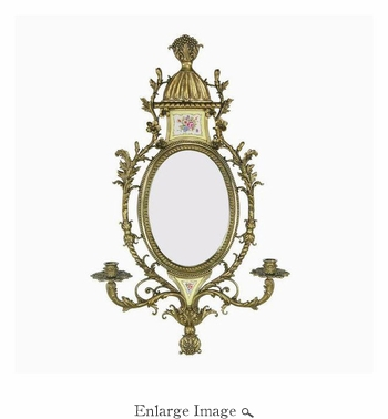 Mirror Sconce, Brass/Porcelain