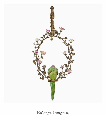 Wall D�cor, Porcelain/Brass, Parrot, Left Facing