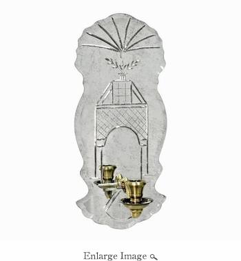 Wall Sconce; Glass and Brass