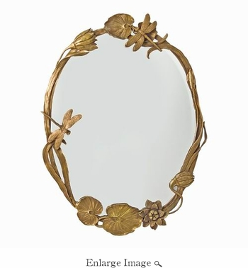 Mirror; Brass and Glass, Art Nouveau Style
