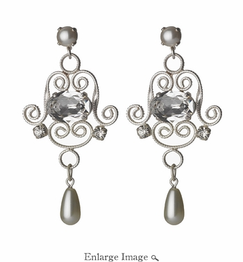 LK Jewelry Pierced Earring White Silver & Clear Crystal