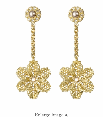 LK Jewelry Pierced Earring Yellow Gold Long Flower Drop