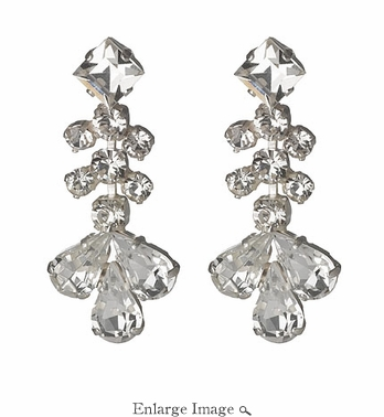 LK Jewelry Pierced Earring White Silver & Clear Crystals