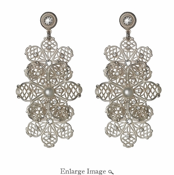 LK Jewelry Pierced Earring White Silver Flowers