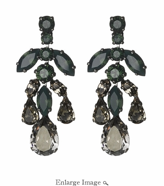 LK Jewelry Pierced Earring Dark Silver With Royal Green