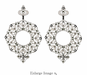 LK Jewelry Pierced Earring White Silver & Black Diamond Silver
