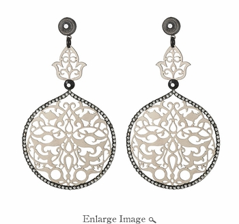 LK Jewelry Pierced Earring Silver & Black Diamond Crystal