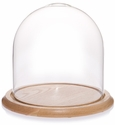 "Glass Dome with Oak Base - 10"" x 10.75"""