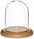 "Glass Dome with Oak Base - 4.5"" x 6"""