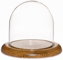"Glass Dome with Oak Base - 5.5"" x 5.5"""