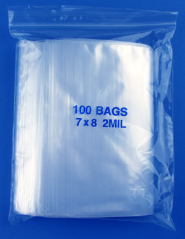 7x8 2mil clear zipper bags, pack of 100