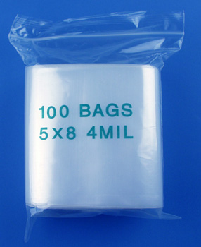5x8 4mil clear zipper bags, pack of 100