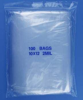 10x12 2mil clear zipper bags, pack of 100