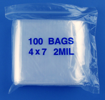 4x7 2mil clear zipper bags, pack of 100