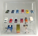 Acrylic Locking Display Cases <br>With Slanted Front & Angled Shelves