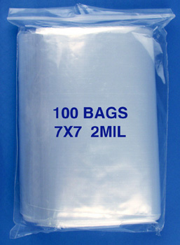 7x7 2mil clear zipper bags, pack of 100