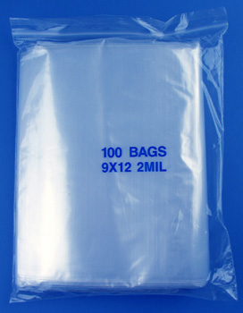 9x12 2mil clear zipper bags, pack of 100