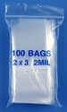 2x3 2mil clear zipper bags, pack of 100