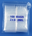 2x8 2mil clear zipper bags, pack of 100