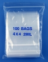 4x4 2mil clear zipper bags, pack of 100