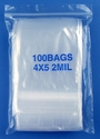 4x5 2mil clear zipper bags, pack of 100