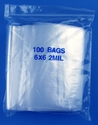 6x6 2mil clear zipper bags, pack of 100