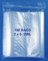 7x5 2mil clear zipper bags, pack of 100