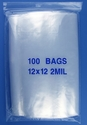 12x12 2mil clear zipper bags, pack of 100