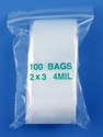 2x3 4mil clear zipper bags, pack of 100
