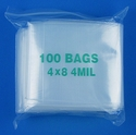 4x8 4mil clear zipper bags, pack of 100