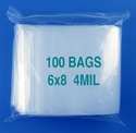 6x8 4mil clear zipper bags, pack of 100