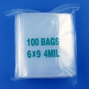 6x9 4mil clear zipper bags, pack of 100