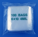 6x10 4mil clear zipper bags, pack of 100